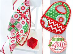 Little Presents EZ Baby Quilt with Matching Appliqué Bib: Christmas in July with Fabric.com | Sew4Home