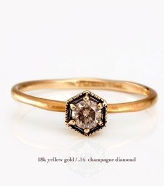 Catbird::shop by category::JEWELRY::Rings::Hexagon Ring, Champagne Diamond