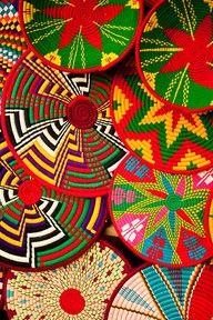 Colorful baskets, Axum, Ethiopia