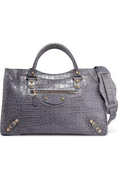 Balenciaga   Giant 12 City croc-effect leather tote   NET-A-PORTER.COM