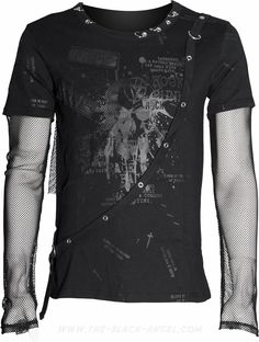 Gothic shirt for men, with mesh sleeves and print, by Queen of Darkness.