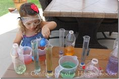Experiment with color mixing by using test tubes and measuring cups, and add goggles for fun!