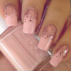@AllNailsEverything peach mani with glitter
