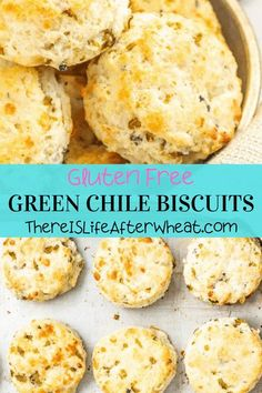 These (gluten free!) Cheesy Green Chile Biscuits are fluffy, light, and studded with Hatch green chile and freshly grated cheese. Perfect for breakfast or dinner! Gluten Free Crepes, Gluten Free Biscuits, Gluten Free Recipes For Breakfast, Best Gluten Free Recipes, Gluten Free Breakfasts, Gluten Free Flour, Fall Recipes, Grated Cheese, Celiac