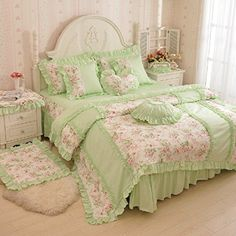 Pink And White Girls Lace Princess Bowtie Ruffled Bedding Sets Ruffle Bedding, Duvet Bedding, Comforter Cover, White Bedding, Duvet Cover Sets, Floral Bedding, Pink Bedding, Girls Bedding Sets, Bedroom Sets