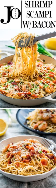 Delicious Shrimp Scampi with Bacon over linguine. You must try this recipe if you love shrimp scampi, the bacon adds that extra bit of flavor that is to die for. www.jocooks.com #shrimpscampi