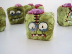 Felted Zombie soap - party pack - 12 mini monsters - great for party favors. $60.00, via Etsy.