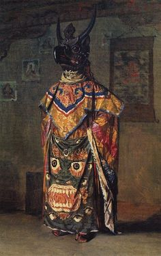 tucec9:    Vasily Vereshchagin.  Buddhist lama in a monastery on a holiday, Pemionchi, Sikkim. Oil on canvas, 1875.