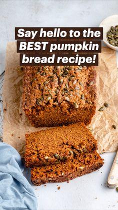Best Pumpkin Bread Recipe, Pumpkin Recipes, Fall Recipes, Bread Recipes, Baking Recipes, Pumpkin Dishes, Delicious Desserts, Yummy Food, Food 101