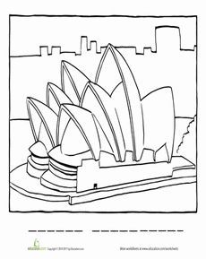Sydney Opera House Coloring Page Worksheet