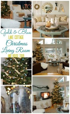 Welcome to our Christmas Home tour: featuring gold and blue décor and a vintage and collected lake cottage style.