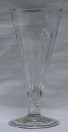 English drinking glass, 18th century, with tapered Ref: L729  English drinking glass, 18th century, with tapered wrythen bowl raised on a knopped stem with circular base and folded foot, height: 5 1/8in. 13cm.