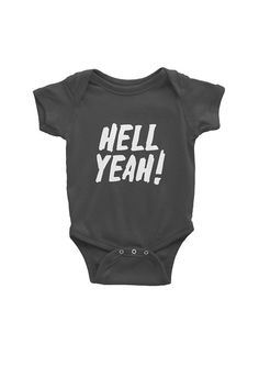 HELL YEAH  Short Sleeve Baby Grow  American by Hatchesandmatches