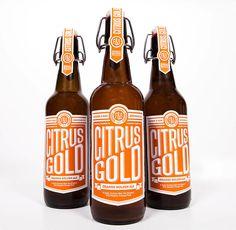 Orange and white beer #labels | Citrus Gold beer packaging