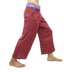 Crimson Thai Fisherman Pants with Thai hand woven fabric on waist side, Wide Leg pants, Wrap pants, Unisex pants  $25.00 Free shipping