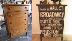Subway Sign Dresser...  very cute!  Uses Annie Sloan chalk paint!  Love the look of Annie Sloan chalk paint!