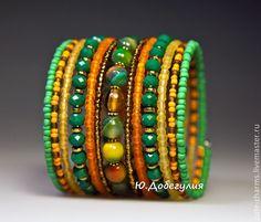 """Купить """"Осень"""". Мемори-браслет с натуральным камнем и бисером - браслеты с камнями, поделочные камни"""