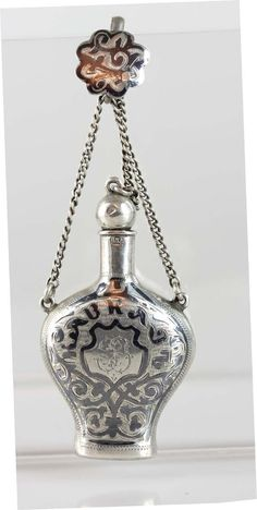 Antique Russian Imperial 84 Niello Silver Chatelaine Perfume Scent Bottle 1890