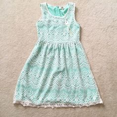 "Ya mint with crochet overlay dress Small BNWT. Ya brand mint with crochet overlay dress. It's so so cute! It's a tad small on me. Size Small, could fit XS. 16.5"" pit to pit and 34"" long. Ya Los Angeles Dresses"