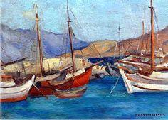 Βασιλικιώτης Αριστοτέλης(1902-72). Καΐκια στο παλιό Μώλο.