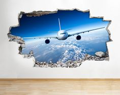 #Aeroplane jet sky scene boys bedroom wall #decal 3d art #stickers,  View more on the LINK: http://www.zeppy.io/product/gb/2/301935052239/