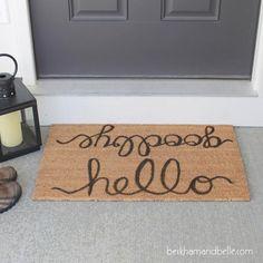 Pottery Barn Doormat Knock-off Porch Decorating, Decorating Tips, Decorating Your Home, Washi, Paint Your Own Pottery, Pottery Barn Inspired, Diy Home Decor Bedroom, Room Decor, Interior Barn Doors