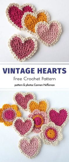 Sweet and Easy Crochet Applique Free Patterns, Decorations and Crochet Vintage Hearts Free Crochet Pattern Crochet Pattern Free, Crochet Motifs, Crochet Appliques, Free Crochet Heart Patterns, Diy Crochet Applique, Crochet Flower Tutorial, Crochet Flower Patterns, Knitting Patterns, Easy Crochet Flower