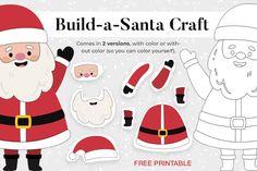 holiday_build-a_santa_product Santa Crafts, Christmas Crafts For Kids, Christmas Fun, Printable Activities For Kids, Free Printables, Craft Free, Paper Toys, Print Design, Create Yourself