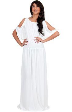 MADELYN - Split Sleeve Smocked Elastic Waist Round Neck Maxi Dress