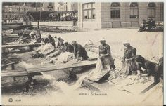 Italian Women Doing Laundry on River Back  Antique  by StarPower99, $7.00