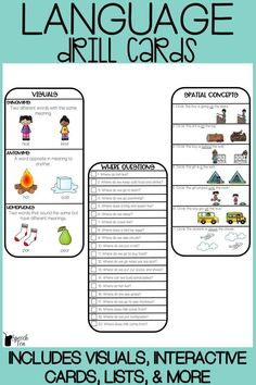 Must have resource for speech therapy, special education, or regular education classrooms working on a variety of language concepts. Targets include WH questions, spatial concepts, verbs, pronouns, same/different, basic concepts, yes/no questions, following directions, size, and so much more! These grab-n-go language cards include visuals, interactive cards, lists, and data sheets. Click for more info!