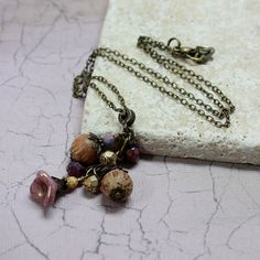 Purple and Brown Glass Bead Necklace  by carolinascreations