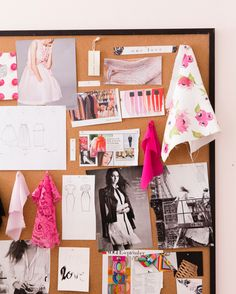See How Rachel Parcell's 'Pink Peonies' Brand Inspired One Dreamy Office Sewing Studio, Pink Peonies, Fashion Design Portfolio, Decoration, Studios, Sketches, Feminine Office, Hang Board, Offices