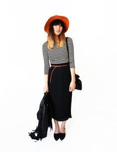 Sheinside Striped Dress, Sheinside Fringe Leather Jacket, Beginning Boutique Hat, Ecugo Flats - Stolen paradise - Alyssa Lau