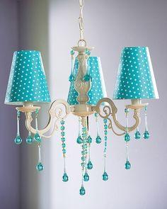 Turquoise polka dot chandelier