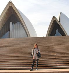 Dress, boots, and backpack from Boohoo.com Sydney Opera House