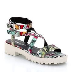 Sandales imprimé hawaïen/semelle blanche crantée