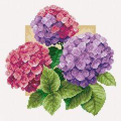 Beautiful X-stitch Hydrangeas Cross Stitch Rose, Cross Stitch Flowers, Cross Stitch Kits, Cross Stitch Charts, Cross Stitch Designs, Cross Stitch Patterns, Cross Stitching, Cross Stitch Embroidery, Cross Stitch Pictures