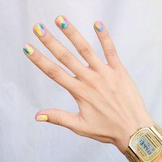 manicure mania: nail art and nail polish trends Yellow Nail Art, Colorful Nail Art, Beautiful Nail Designs, Beautiful Nail Art, Hair And Nails, My Nails, Funky Nails, Statement Nail, Nail Polish Art