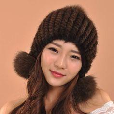 Hot Selling New Women Hat Winter Mink Fur Hats Real Mink Fur Beanies Fashion Headwear With Fox Fur Ball Skullies Beanies Cap Hat