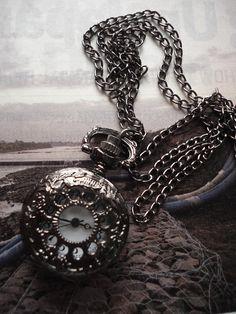 SALE 10  OFF Necklace Pendant Dark Pocket Watch by Azuraccessories, $5.93