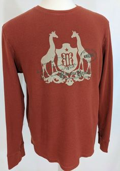 Banana Republic Mens Thermal Top Giraffes Graphic LSlvs Rust Red Cotton Size L #BananaRepublic #Thermal