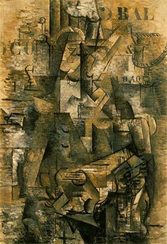 Braque, Georges [French Cubist/Fauvist Painter, 1882-1963] Le Portugais (The Emigrant) Ceret [and Paris], autumn 1911-early 1912 Oil on canvas 46 x 32 in. (117 x 81 cm.) Kunstmuseum Basel Romilly 80