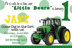 John Deere Birthday Party Invitation Green Tractor Birthday Party Announcement Birthday Invite. $1.20, via Etsy.