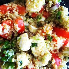 Lunch today.. Quinoa. Fresh mozzarella. Tomatoes. Avocado. Red onion. Basil. Red pepper flakes. Olive oil and sea salt :)