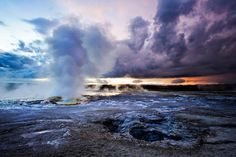 52 Places to Go in 2015 - NYTimes.com The Clepsydra Geyser erupts at sunset in the Lower Geyser Basin. Credit Rachid Dahnoun