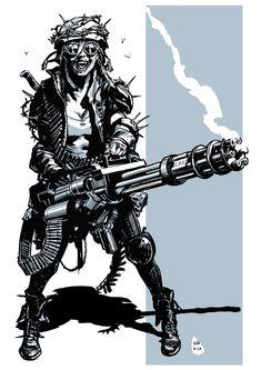 Post apocalyptic minigun girl 2 by bumhand on deviantART