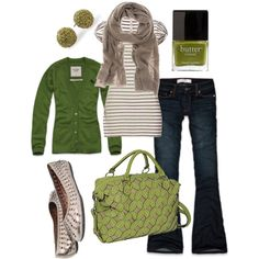 green & brown, created by #htotheb on #polyvore. #fashion #style Abercrombie & Fitch Bailey 44 #rocking