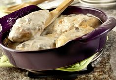 No one will guess this creamy mushroom chicken only took 5 minutes to prepare before baking - it is a winner every time.