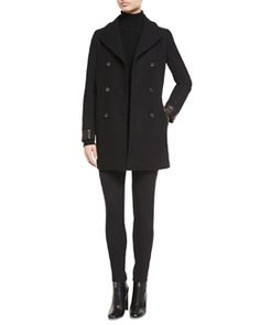 TOM FORD Wool-Blend Double-Breasted Pea Coat, Pique-Knit Cutout Turtleneck Sweater & High-Waist Slim-Fit Gabardine Pants Fall 2015